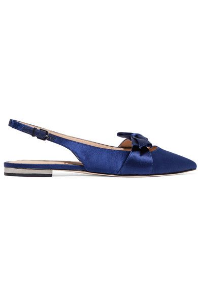 Slight heel Indigo satin Buckle-fastening slingback strapLarge to size. See Size & Fit notes.