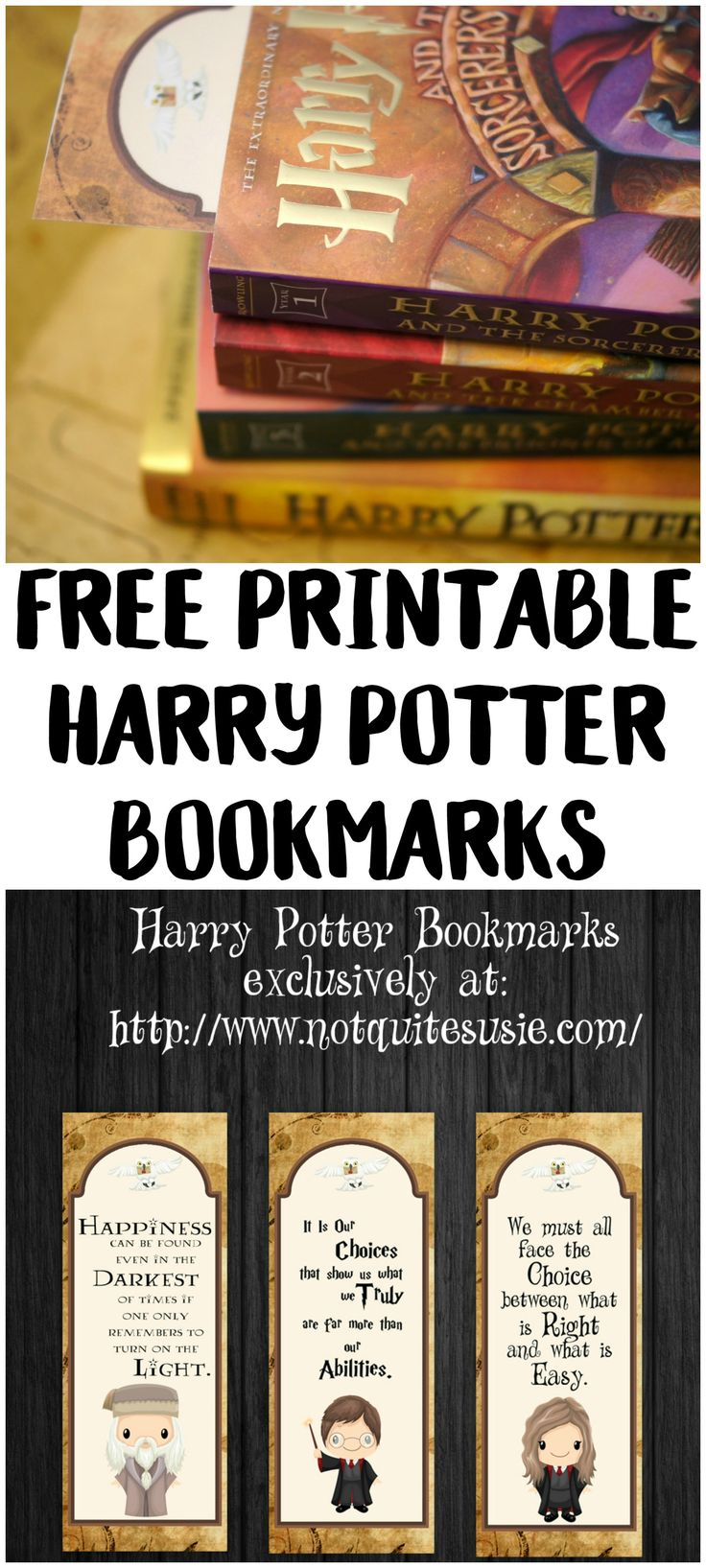 picture regarding Free Printable Harry Potter Bookmarks referred to as Cost-free Printable Harry Potter Bookmarks Not Very Susie