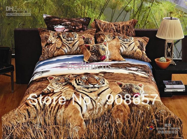 Wholesale brown tiger 500 TC cotton bed linen for man cheaper bedding set 3D oil painting comforter duvet covers for full queen quilt 4/5pc, Free shipping, $78.03/Set | DHgate Mobile