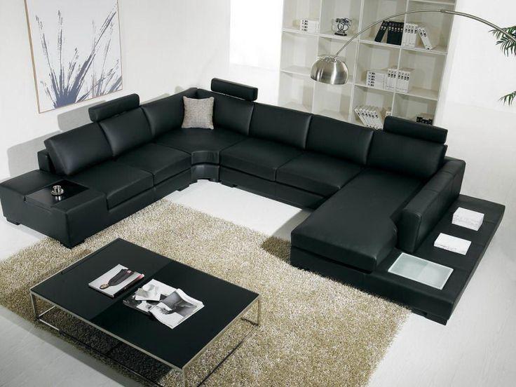Black Sofas Design for Living Room: Elegant U Black Sofas With White Bookself And Modern Lighting ~ flohomedesign.com Sofa Inspiration