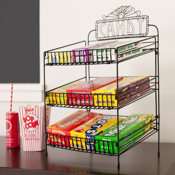 """Theater Room Snack Bar: Wire Food Display, Black, """"Candy"""""""