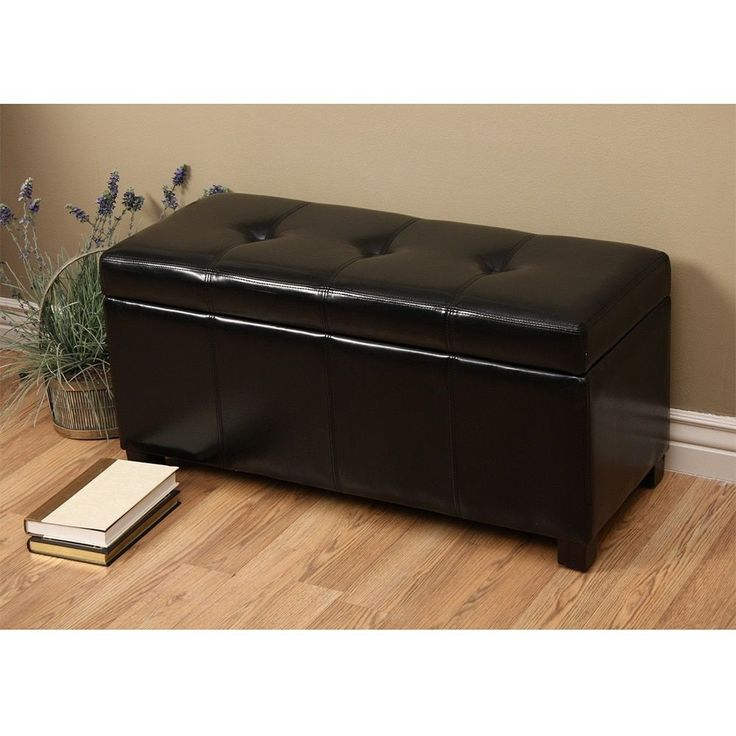Warehouse of Tiffany Ariel Dark Faux-Leather Storage Bench