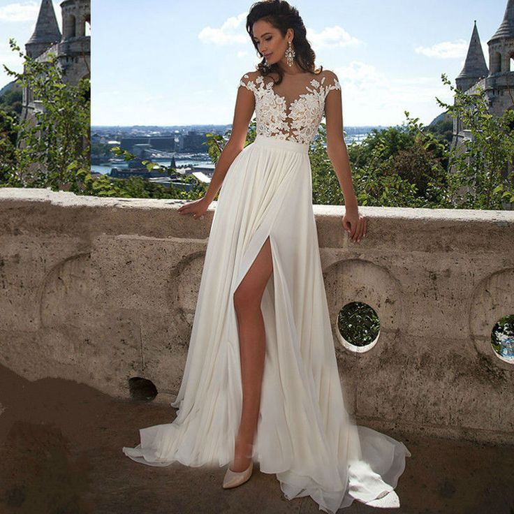Sexy Cap Sleeve Beach Wedding Dresses With Train 2016 Plus Size Chiffon See Through Lace High