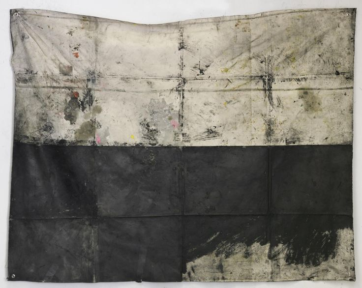 Oscar Murillo - Touch me with your greasy hands, 2012, oil, oilstick, spray paint, dirt, steel grommets on canvas