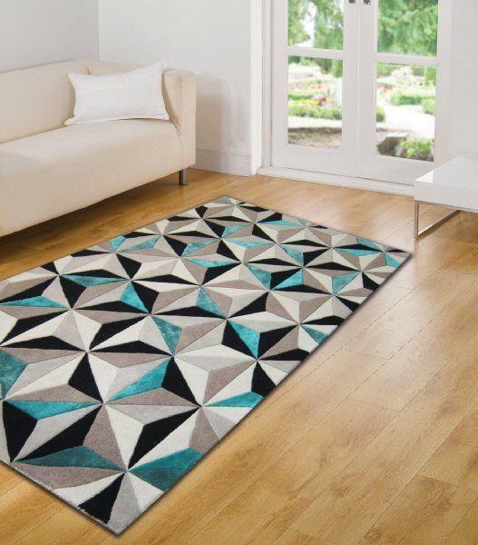 Very Large Handmade Thick Luxurious Soft Wool Geometry Design Grey Black Blue Rug In 5u0027