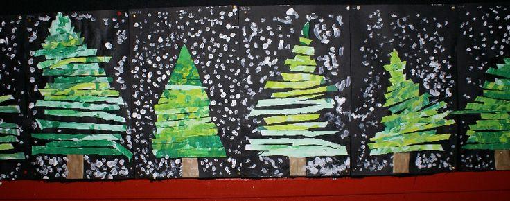 Carle Kerstboom: grote driehoek beschilderen, in stroken knippen, van groot naar klein weer opplaken (laat de lucht door de takken zien) Groep 1/2