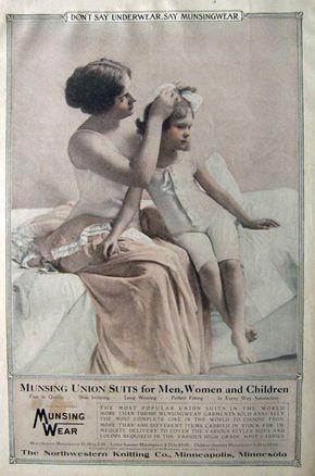 1912 Munsingwear Underwear Ad ~ Mom Puts Bow in Child's Hair
