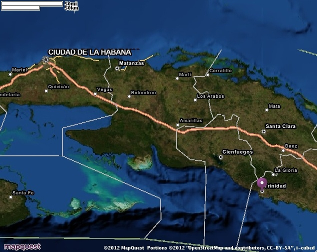Map of Trinidad, Cuba.  Helping you discover the REAL Cuba.  Find out more at www.cubarocks.co.  Source: map quest