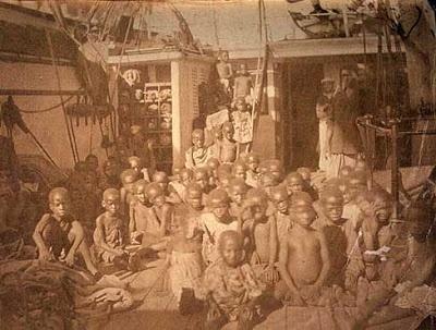 Slaves aboard a slave ship - 1800s