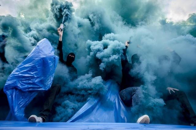 Djurgården fans showing some smoke.