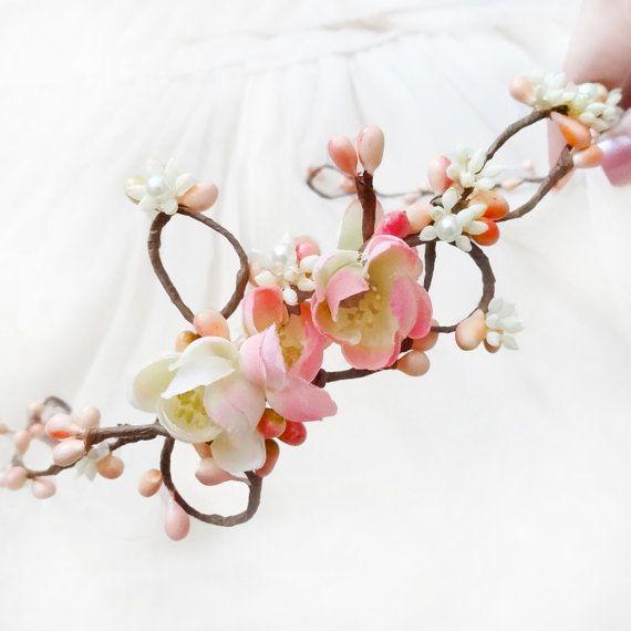 cherry blossom headband  FAIRY VINE  bridal pink by thehoneycomb, $52.00