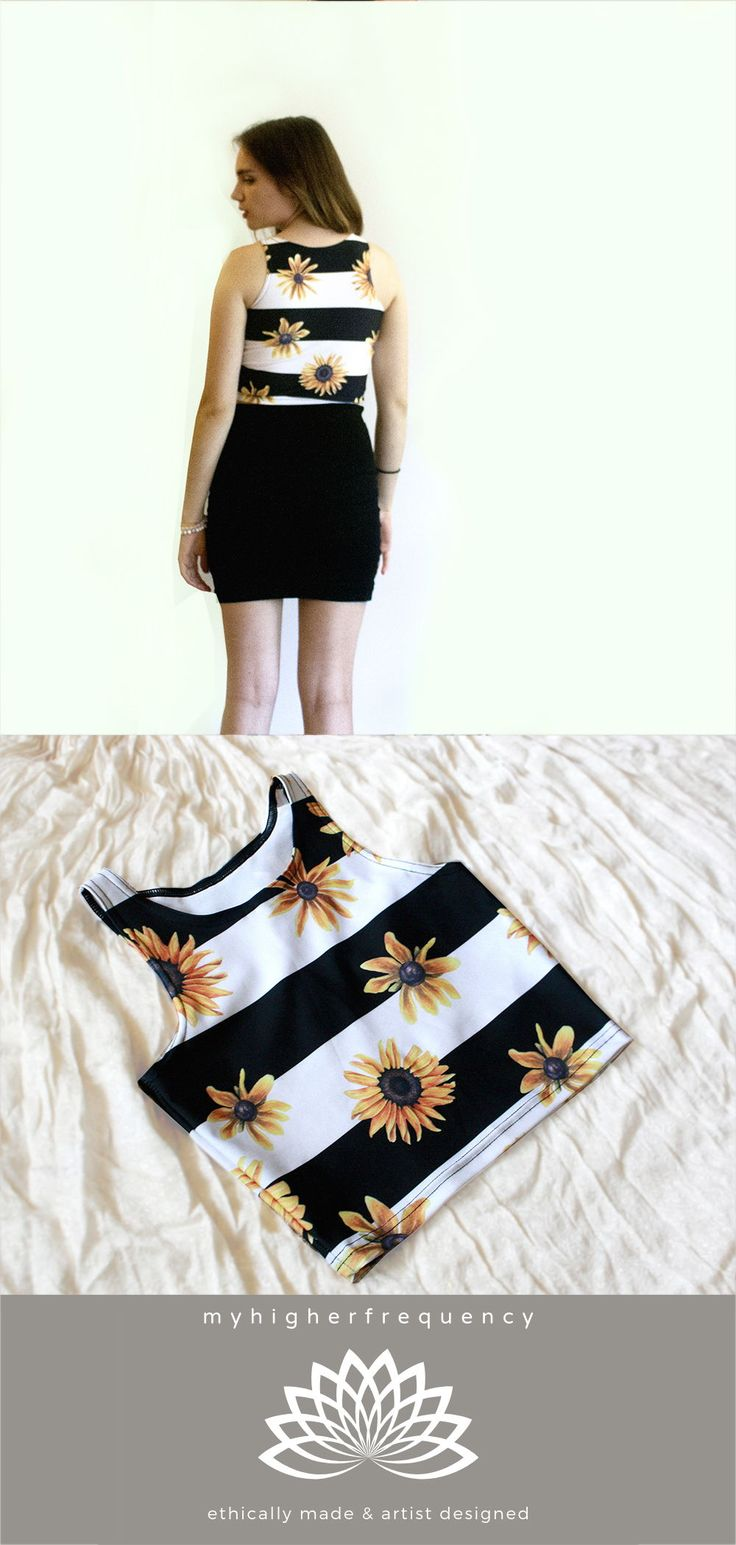 Striped Sunflower shirt, Sunflower Gift for Her, Yoga Shirt, Boho Crop Top – Everything Board for Tribe Shares