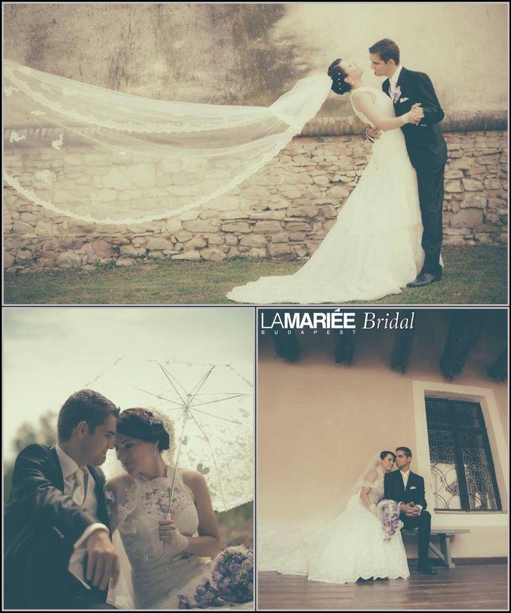 Anna bride by La Mariée Budapest bridal & Bridal Mirage veil  #Lenix dress by Pronovias #bridalmirage