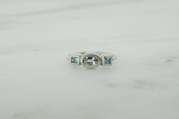 Triple Stone Ring Blue Diamond and White Sapphire by GevaniJewelry