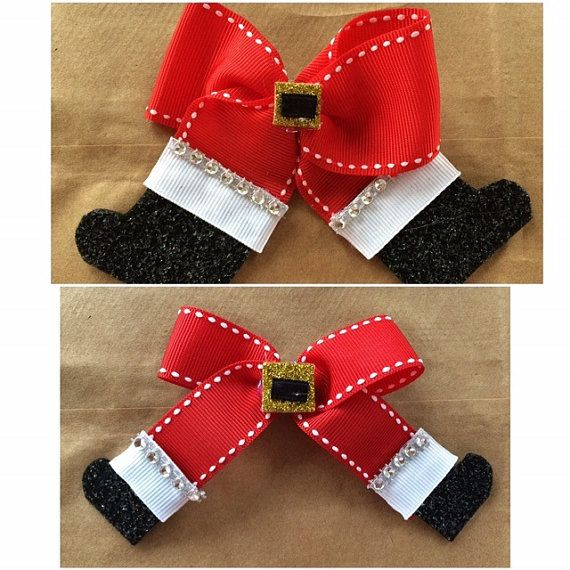 Santa Claus Christmas Hair Bow Hair Clip by CustomBowsByRose