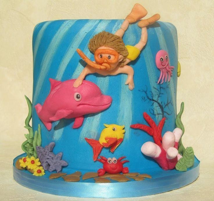 torta sotto il mare in pasta di zucchero - undersea cake in fondant