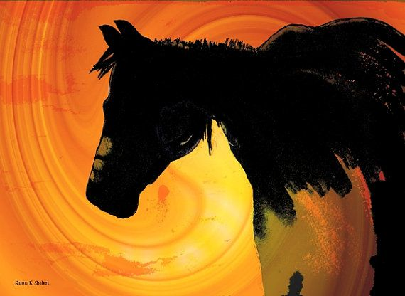 Black horse in a Southwest style folk art, mixed media painting. Features a dramatic color combination of orange, yellow and black with heavy