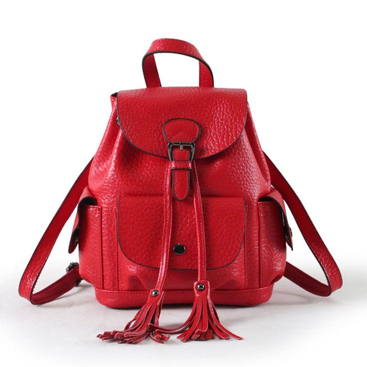2016 Women Leather Backpack Genuine Leather Vintage Tassel Fashion Backpack for Girls Preppy Style School Backpack mochila #jewelry, #women, #men, #hats, #watches