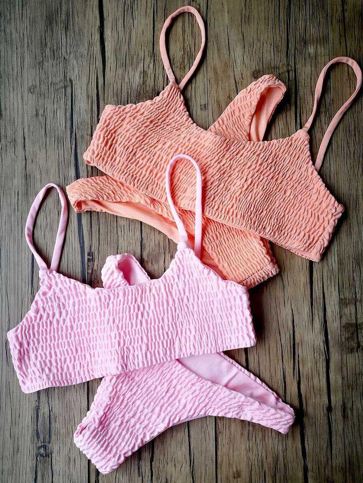 Up to 15% OFF 2017 swimwear bikinis two piece crop bikini top pink high bikini bottoms scrunched slimming swimsuits tummy control