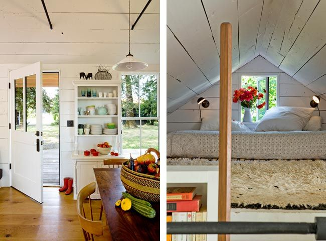 jessica helgerson and yianni doulis' 540 sq ft house on sauvie island (near portland). yep, that's a sod roof.Sauvie Islands, Tiny House Interiors, Dreams Home, Tinyhouse, The Loft, Tiny Houses, Small House, Small Spaces, Loft Beds