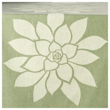Bloom Eco Table Runner, Cream/Heather Green - contemporary - tablecloths - Wabisabi Green