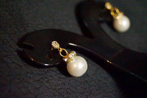 Pearl gold Diamond drop earrings