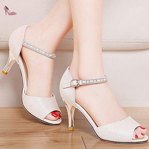 RUGAI-UE Mode d'été occasionnels Chaussures Femmes Sandales PU Confort talons,Black,US5.5/EU36/UK3.5/CN35