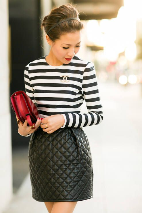 Wendy's Lookbook | Textured Patterns | Black&White Stripped Top + Quilted Skirt