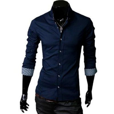 Mens Button Closure Plaids Detail French Cuff Round Hem Shirt Dark Blue S