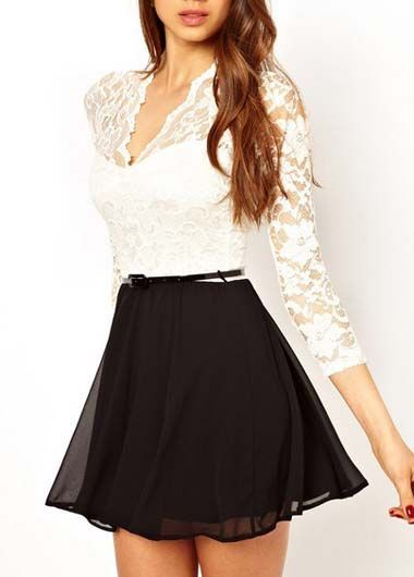 Black and white always works and looks sophisticated! Black and White Color Blocking Long Sleeve Dress