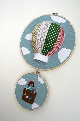 hot air balloon embroidery