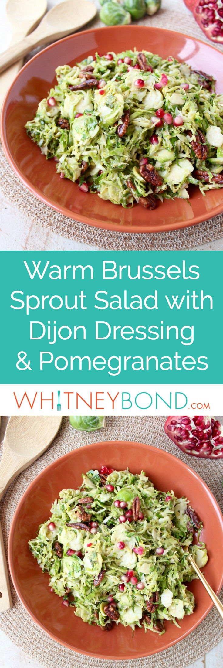 Serve this brussels sprout salad warm or cold as the perfect fall side dish! It's easy enough for weeknight dinners, but elegant enough for Thanksgiving dinner. This salad is tossed with a homemade dijon dressing, pomegranate seeds & pecans for a salad that's both colorful and flavorful! #Thanksgiving #Recipe #Vegetarian #GlutenFree