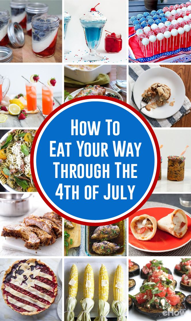 Every thing your picnic, BBQ or all day festivities need to help you and your guests eat your way through the 4th of July! From patriotic pies and jellos to the perfect grilled corn recipe, you'll find it all here: http://www.ehow.com/how_12343369_eat-way-through-fourth-july.html?utm_source=pinterest.com&utm_medium=referral&utm_content=curated&utm_campaign=fanpage