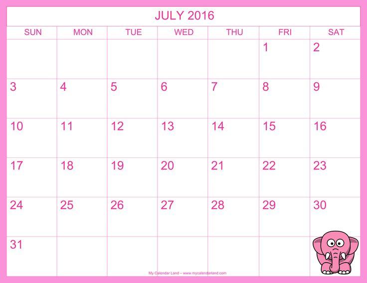 July 2016 Calendar Template Printable