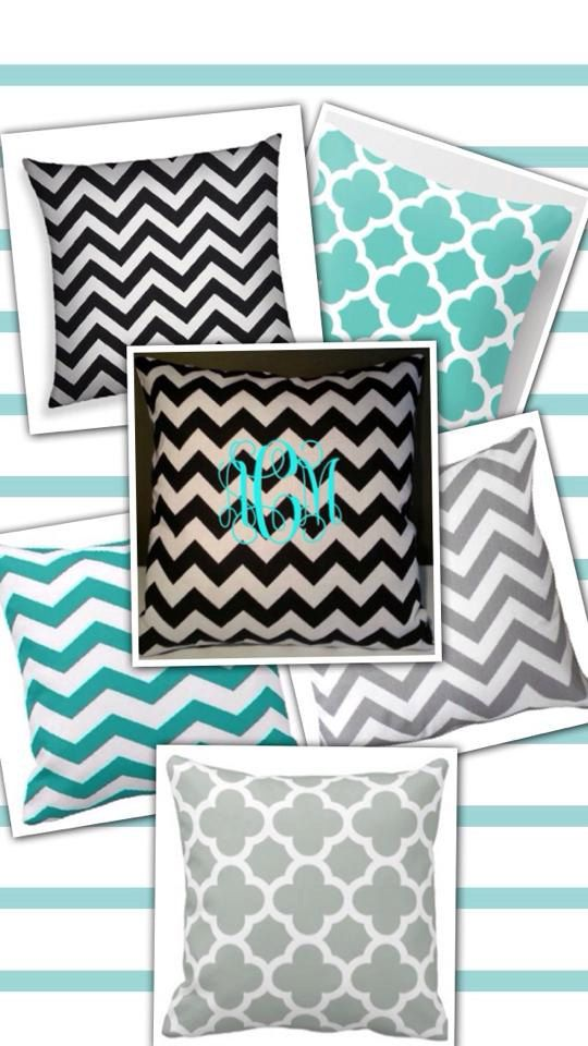 Personalized Chevron Or Quatrefoil Throw Pillow Cover 100 Cotton Great For Living Areas Dorms