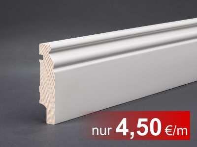 Massivholz weiß lackiert 78x19x2400 mm Berliner- / Hamburger Profil