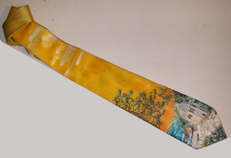 silk handpainted tie - www.ilgiardinodellacerorosso.com