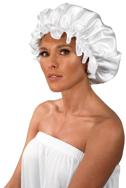 Satin Bath Mate (#512)  *Vinyl-lined satin shower cap  *Extra large size  *Bordered with rosettes  *Made in USA  *Colors: White, Pink, Light Blue