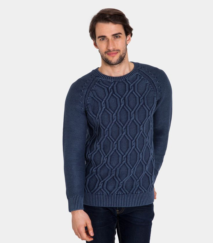 Mens 100% Cotton Chunky Cable Detail Crew Neck Jumper Indigo Dye Effect / Style Code: T15M #pure #cotton
