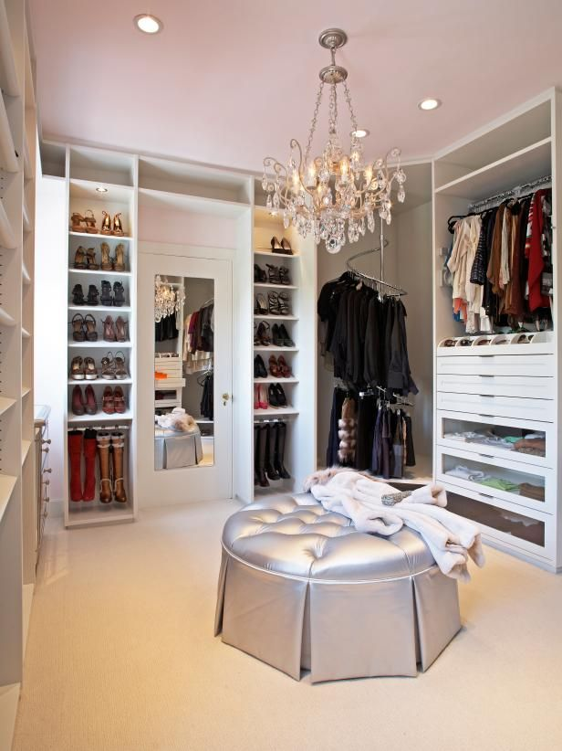Gorgeous Traditional Walk-In Closet for Her | HGTV >> http://www.hgtv.com/design-blog/design/our-favorite-gold-silver-and-bronze-decor?soc=pinterest