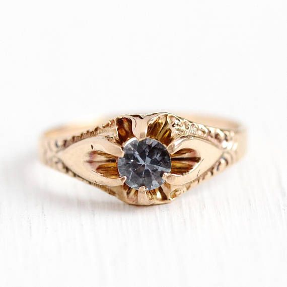 Blue Sapphire Ring Antique 10k Rosy Yellow Gold Vintage Size 4 3 4 Alternative Engagem Sapphire Antique Ring Antique Gemstone Rings Yellow Gold Sapphire Ring