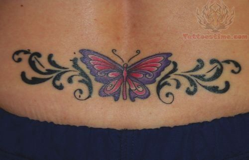 Beautiful Butterfly And Tribal Tattoo On Lowerback