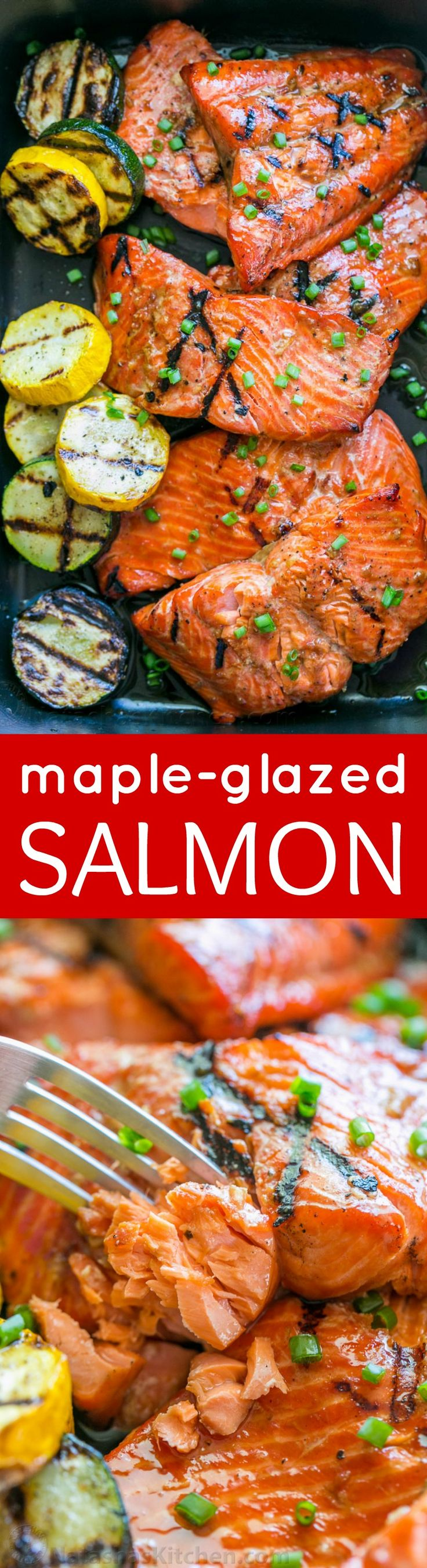 This grilled maple salmon recipe is a KEEPER! Maple salmon is flaky, juicy and so flavorful! Marina writes