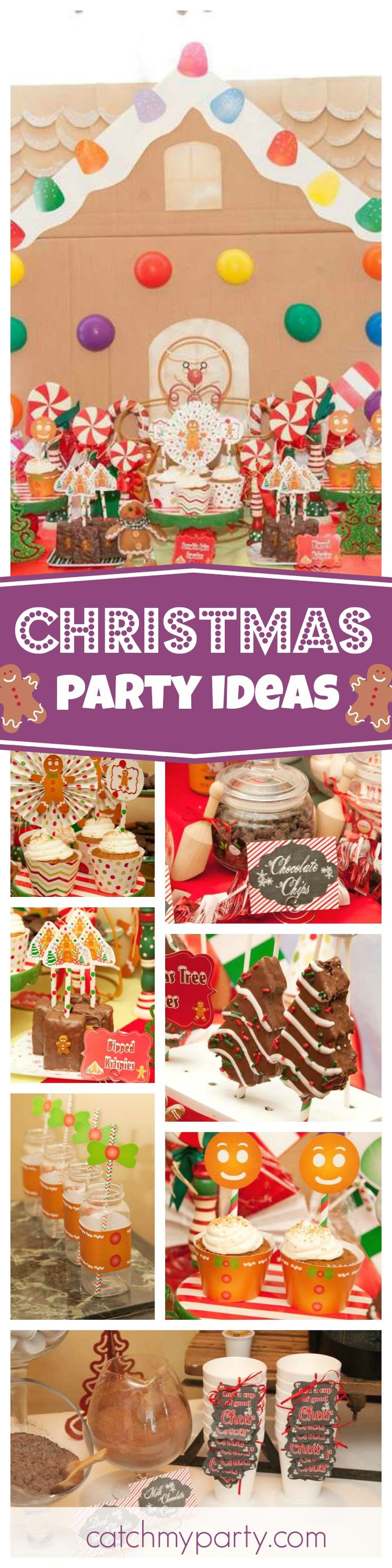 You don't want to miss this fantastic Christmas party in the run up to the Holidays. Loving the gingerbread house backdrop! See more party ideas and share yours at CatchMyParty.com