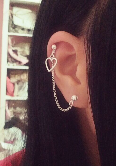 Simple Heart Cartilage Chain Earrings by SimplyyCharming on Etsy