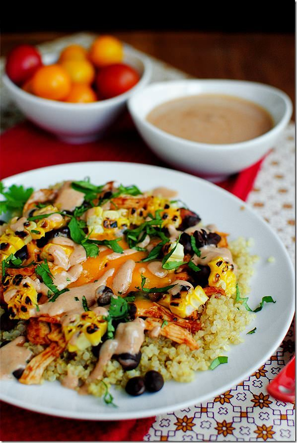BBQ Chicken Quinoa Salad is a healthy party on a plate! #glutenfree | iowagirleats.com