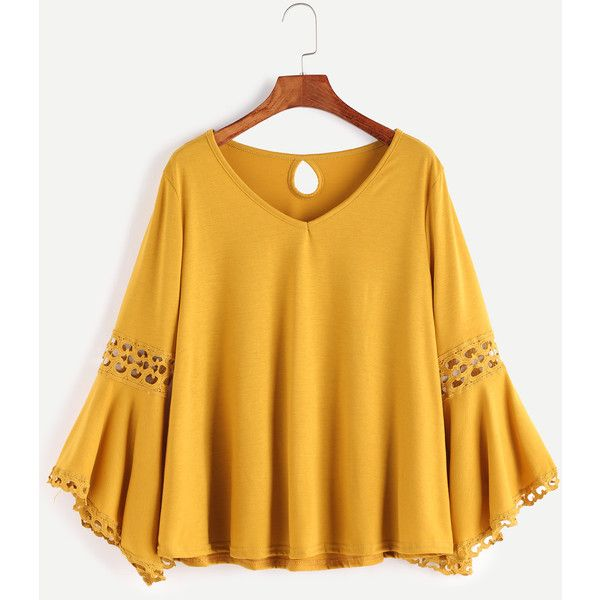 SheIn(sheinside) V Neckline Contrast Crochet Keyhole Back Tee (235 MXN) ❤ liked on Polyvore featuring tops, t-shirts, yellow, long sleeve stretch tee, long sleeve tops, v neck tee, long sleeve v neck tee and long sleeve t shirts