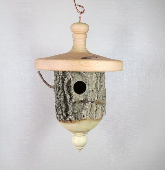 Birdhouse  Hand Made  Functional  Wood  by SchoolhouseWoodcraft