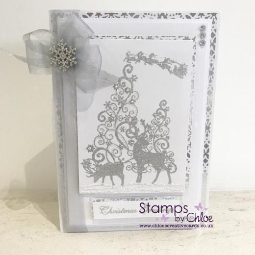 Stamps by Chloe - JUL029 Swirly Christmas Tree Scene - £6.99 - Stamps By Chloe Jul029 Swirly Christmas Tree Scene - Chloes Creative Cards