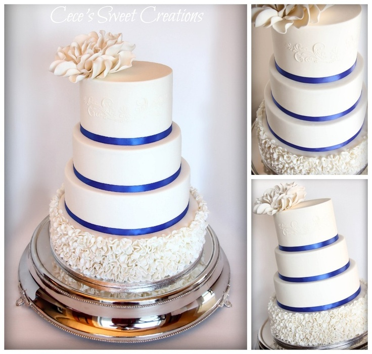 White and Blue, Wedding Cake...Ruffles on bottom Tier